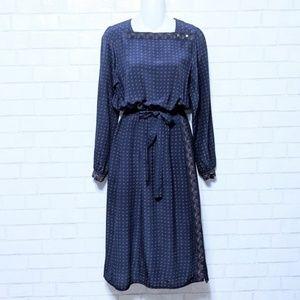Vintage Nordstrom Joanie Char Silk Navy Dress
